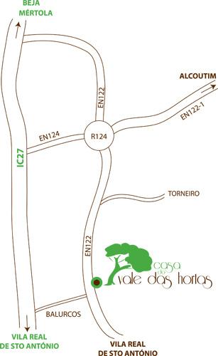 Mapa de localização da Casa do Vale das Hortas